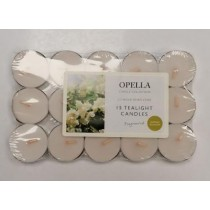 Opella Fragranced/Scented Tea Lights / Candles - Jasmine Blossom - Pack Of 15