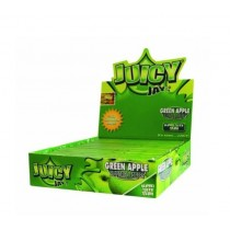 Juicy Jays Green Apple Flavoured Cigarette Rolling Paper King Size Slim  - Pack Of 24 - 32 Leaves Per Pack