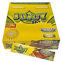 Juicy Jays Pineapple Flavoured Cigarette Rolling Paper King Size Slim  - Pack Of 24 - 32 Leaves Per Pack