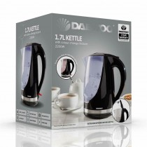 Daewoo Electricals 1.7L Kettle with Colour Change Feature & 2 Years Warranty - Black - 22.7 x 20.5 x 16.5cm
