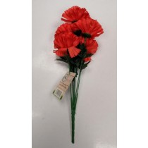 Artificial Flowers - Bunch Of 8 Carnation Flowers - Red