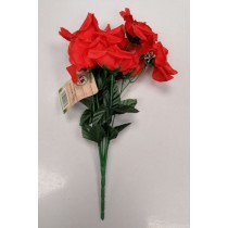Artificial Flowers - Bunch Of 8 Open Rose Flowers - Red
