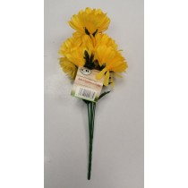 Artificial Flowers - Bunch Of 8 Chrysanthemum Flowers - Yellow