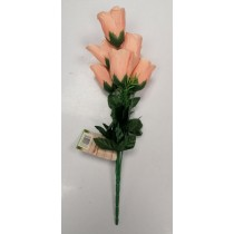 Artificial Flowers - Bunch Of 8 Rose Bud Flowers - Pink