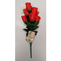 Artificial Flowers - Bunch Of 8 Rose Bud Flowers - Red