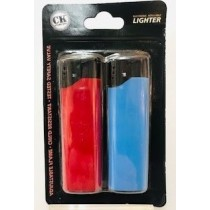 CK Everyday Electronic Refillable Windproof Lighters - Assorted Colours - Pack of 2