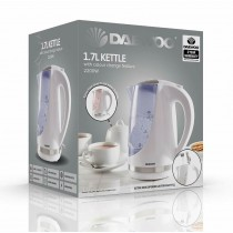 Daewoo Electricals 1.7L Kettle with Colour Change Feature & 2 Years Warranty - White - 22.7 x 20.5 x 16.5cm