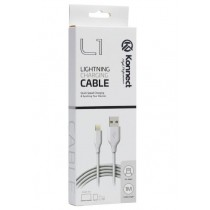 Konnect High Performance L1 Quick Speed Lightening Charging Cable for Iphone 5/6/7/8/10/11 - White - 1m