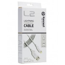 Konnect High Performance L2 Quick Speed Lightening Charging Cable for Iphone 5/6/7/8/10/11 - White - 2m