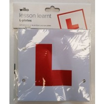 Wilko Lesson Learnt Self Adhesive/Tie-On Front and Rear L-Plates - 17.5 x 17.5cm