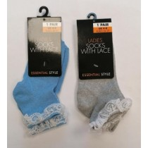 Essential Style Ladies Socks with Lace - Colours May vary - Size: 4-8