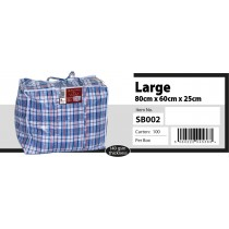 Large Size Check Zipper Shopping/Laundry Bag - Approx 80 x 60 x 25cm - Colours May Vary