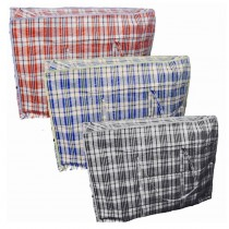Large Size Check Zipper Shopping/Laundry Bag - Approx 60 x 50 x 25cm - Colours May Vary
