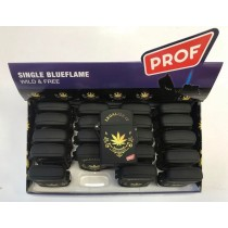 Prof Single Blue Flame Electronic Refillable Legalize It Lighter - Wild & Free - Black