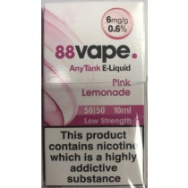 88 Vape Any Tank E Liquid - Pink Lemonade - 50/50 Pg/Vg - 6Mg - 10Ml