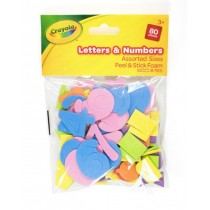 Crayola Peel & Stick Foam Letters & Numbers - Assorted Colours & Sizes - For Ages 3+ - Pack of 80