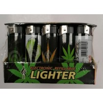 Puf Electronic Refillable Lighter - Assorted Colours & Design - Pack of 50