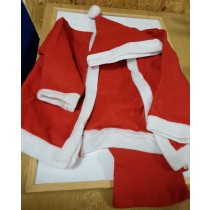 Little Boys Father Christmas Outfit - 3 Piece - Trousers Jacket And Hat With Bobble