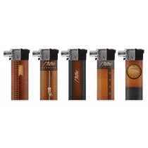 Matteo Pipe lighters Soft Flame Adjustable Refillable Brown Leather Effect - Assorted Designs