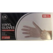 Medium Disposable Vinyl Clear Gloves Powder & Latex Free Food Medical Cleaning - Box of 100