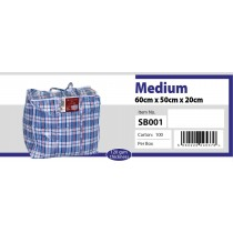Medium Size Check Zipper Shopping/Laundry Bag - Approx 60 x 50 x 20cm - Colours May Vary