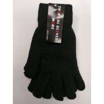 Mens Thermal Gloves with Lining - Black - One Size