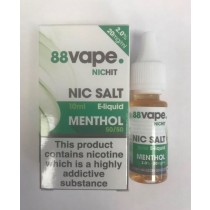 88 Vape Nic Hit E Liquid with Nic Salt - Menthol - 50/50 Pg/Vg - 20Mg -10Ml