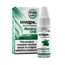 88 Vape Any Tank E Liquid - Menthol Chill - 50/50 Pg/Vg - 6Mg - 10Ml