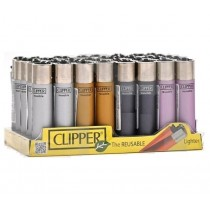 Clipper Classic Large Reusable Lighters - Metallic 4 - Assorted Colours & Designs