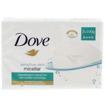 Dove Moisturising Cream Soap - Micellar Sensitive Skin - Pack Of 2 X 100G