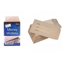 Just Stationery Money Wallets - 12.5 x 7cm - Pack of 100
