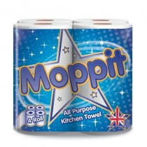 Moppit All Purpose Kitchen Paper Towel/Roll - 2 Ply - Pack Of 4