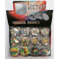 Hand Muller 4 Piece Metal Tobacco Grinder - Leaf Design - Assorted Designs