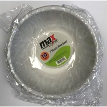 "Max Disposable Plastic Deep Bowl - 7"" - White - Pack of 10"