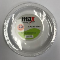 "Max Disposable Plastic Round Plate - 7"" - White - Pack of 20"