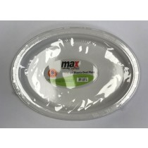 "Max Disposable Plastic Oval Plate - 10"" - White - Pack of 8"