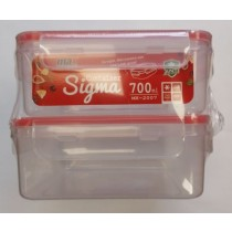 Max Microwave Safe Clip Lock Plastic Sigma Container - 700ml - Pack of 2