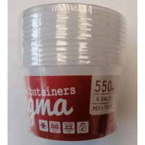 Max Microwave Safe Round Plastic Sigma Container - 550ml - Pack of 6
