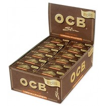 Ocb Unbleached Slim Virgin Paper Rolls With Paper Level Window - Pack Of 24
