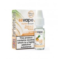 88 Vape Any Tank E Liquid - Orange & Pineapple Punch - 50/50 Pg/Vg - 11Mg - 10Ml