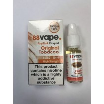 88 Vape Any Tank E Liquid - Original Tobacco - 50/50 Pg/Vg - 16Mg - 10Ml