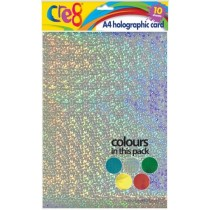 Cre8 A4 Holographic Card - Pack of 10 - Assorted Colours