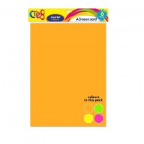 Cre8 A3 Neon Cards/Sheets - Assorted Colours - Pack of 6