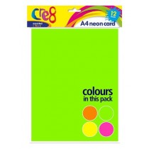 Cre8 A4 Neon Cards/Sheets - Assorted Colours - Pack of 12
