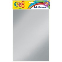 Cre8 A4 Silver Card - Pack of 10