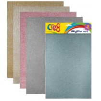 Cre8 A4 Glitter Cards/Sheets - Assorted Colours - Pack of 5