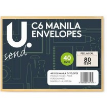 U Send C6 Manila Envelopes - 80GSM - Pack of 40