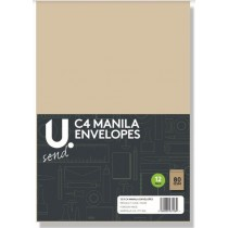 U Send C4 Manila Envelopes - 80GSM - Pack of 12