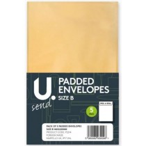 U Send Padded Envelopes - Size B - 21.5cm x 12cm - Pack of 5