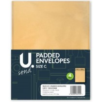 U Send Padded Envelopes - Size C - 21.5cm x 15cm - Pack of 4